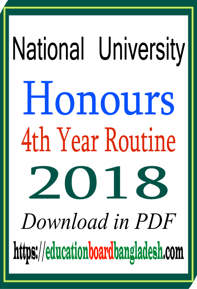 honours 4th year routine 2018
